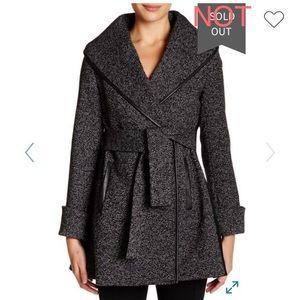 Trina Turk Jami Faux Suede Trim Wool Blend Coat